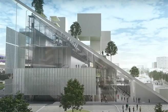 桃園市立美術館將以「山丘」斜坡造型作為主體。(圖/截自YouTube/TMoFA桃園市立美術館)