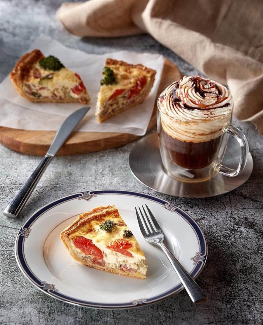 台北美福大飯店推出「世界咖啡季」下午茶, 內容有愛爾蘭咖啡與歐式鹹派組合。圖/業者提供