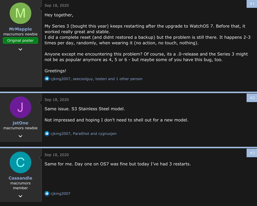 不少Apple Watch Series 3用戶升級watchOS 7爆發災情,用戶在網路論壇上頻發抱怨。(摘自MacRumors論壇)