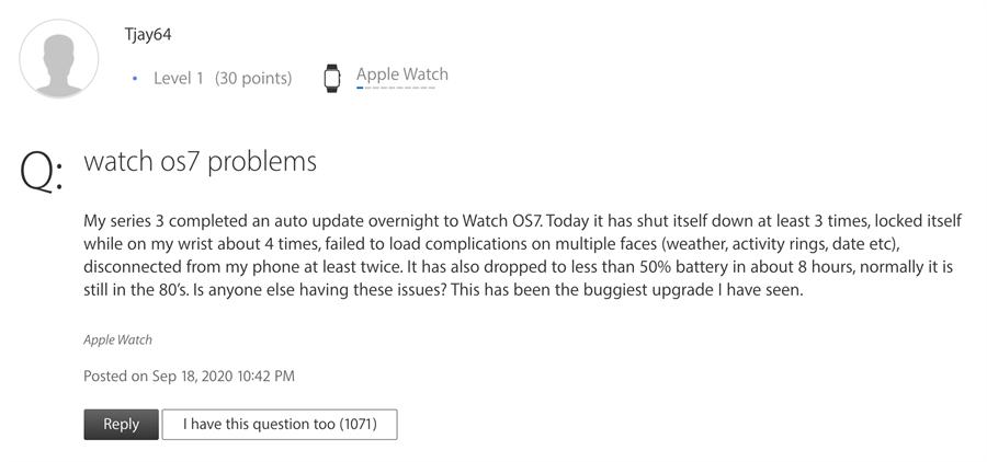 不少Apple Watch Series 3用戶升級watchOS 7爆發災情。(摘自蘋果官網)
