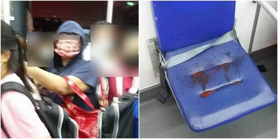 女學生於下課期間搭公車欲前往補習班,卻在公車上遇到一名身穿藍色帽T的婦人,在公車上大嚼檳榔,讓她大怒水準在哪?(圖/翻攝自爆料公社)