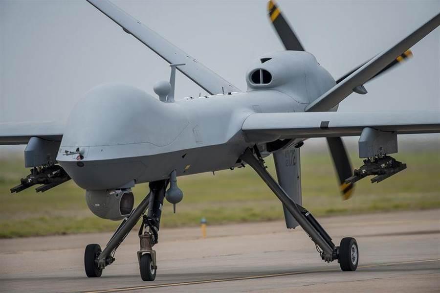 一架MQ-9「死神」無人機,在新墨西哥州坎農空軍基地(Cannon Air Force Base)的資料照。(美國空軍)