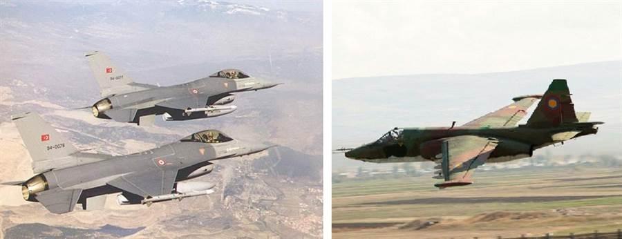 土耳其F-16戰機(左),亞美尼亞Su-25攻擊機(右)。(圖/F-16.NET、亞美尼亞空軍)