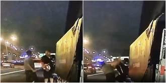 國道「第一屆生死格鬥賽」開打 2人車流中扭打成團