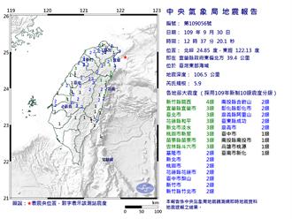 台北上下跳!12:37東部海域規模5.9地震 最大震度新竹4級