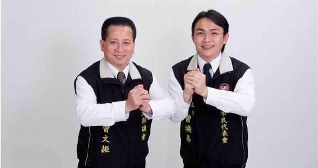 曾煥嘉(右)已經擔任三屆新北市議員,如今卻遭過去的員工控訴,他利用員工人頭冒領議員助理費,還在外放高利貸。(圖/報系資料照)