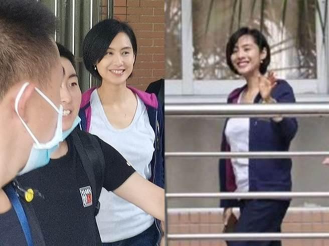 朱茵日前到來校園拍戲,完全看不出已經48歲。(圖/微博@頭號明星)
