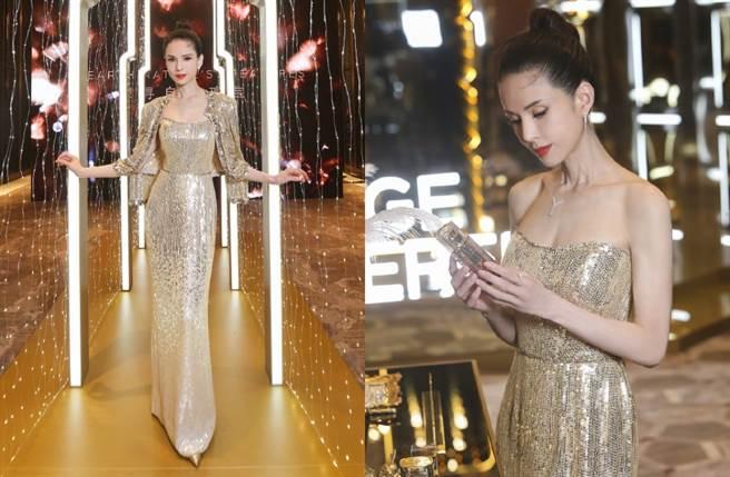 李若彤在微博曬出一系列奢華的禮服寫真,散發迷人的熟女風采。(圖/摘自微博@李若彤)