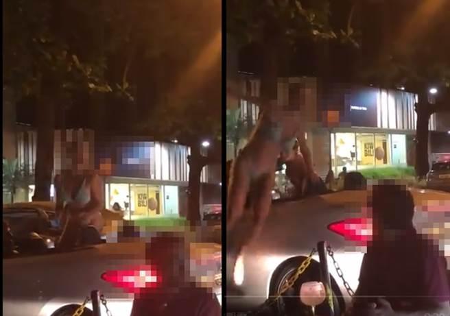 巴西一位辣妹日前在車上跳舞玩樂惹眾怒,失序行為拳被路人拍下上傳網路。(推特@PaulinhoSerra/蘇育宣翻攝)