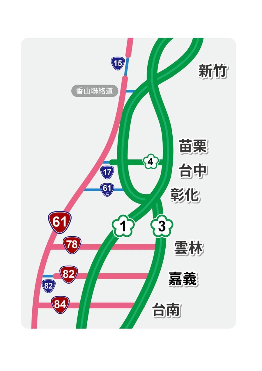 新竹至臺南地區利用橫向道路銜接台61路線圖。(圖/高公局提供)