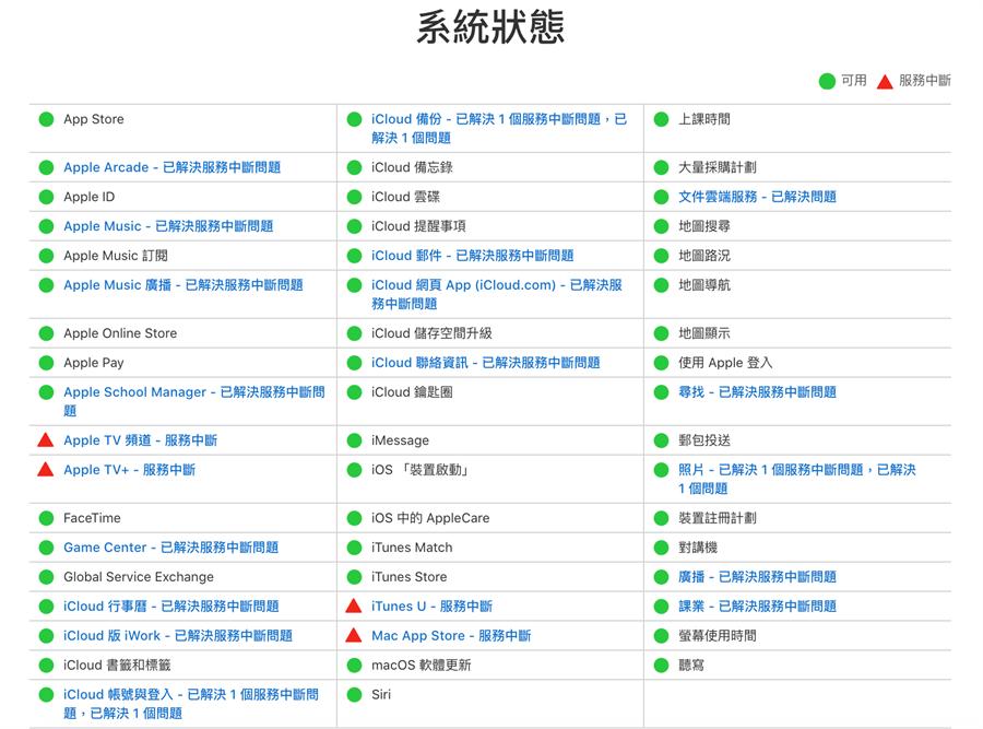 蘋果官網系統狀態頁面顯示多項服務出現服務中斷的情況。(摘自蘋果官網)