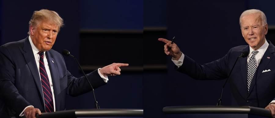 全球矚目的美國總統大選首場辯論中,總統川普與民主黨候選人拜登開場不久就雙方互嗆,整個辯論過程川普插話連連,讓評論員認為這是美國史上最爛的一次總統大選辯論,堪稱「一場爛秀」。(美聯社合成圖)