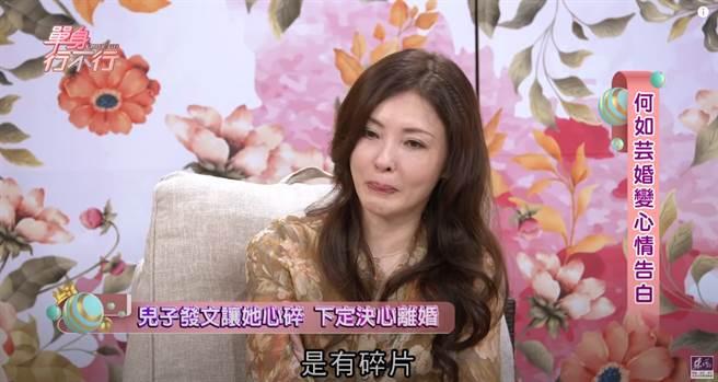 何如芸的兒子坦言童年有碎片,讓她相當自責,也下決心要斷開婚姻。(圖/YT@東風衛視)