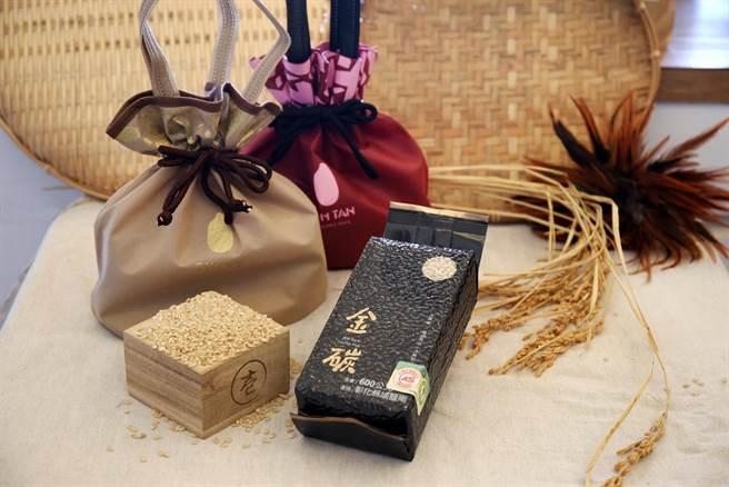 彰化縣埔鹽鄉大有社區金碳稻,獲選金馬57貴賓專屬禮品。(縣府提供/吳建輝彰化傳真)