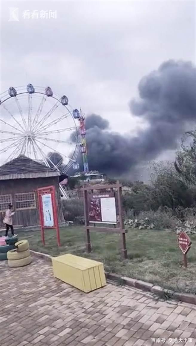 山西太原台駘山景區發生致13人死15傷火警。(央視)