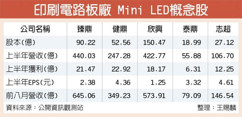印刷電路板廠 Mini LED概念股