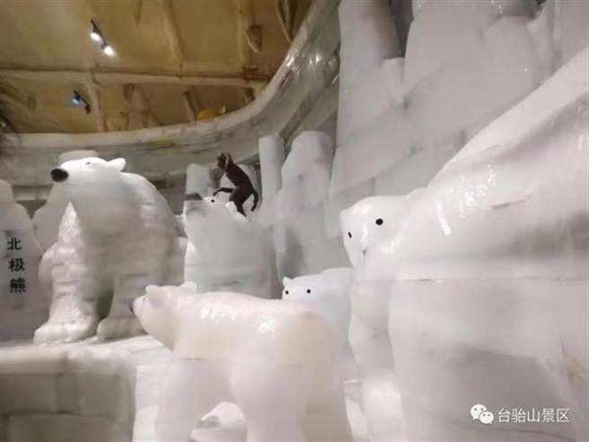 造成重大意外的太原台駘山景區的冰雕館內景。(摘自台駘山景區微信公號)