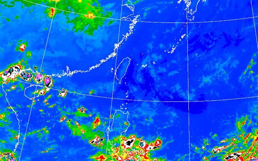 今天氣晴朗,各地降雨機率低。(中央氣象局提供)