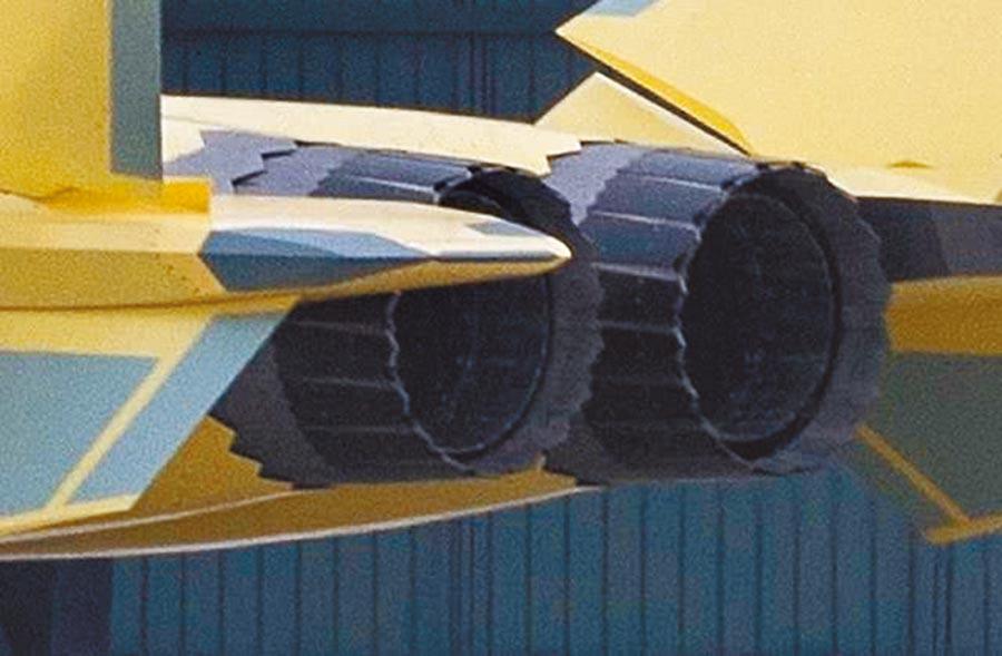 大陸自製WS-10系列引擎特徵是尾噴管的鋸齒狀設計,齒邊緣可使發動機噴管周圍的雷達波改變方向,為戰機提供隱形性能。(取自微博@王牌武器庫)