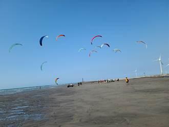 秋冬就是要去大安追風 極限好手海面競技風箏衝浪