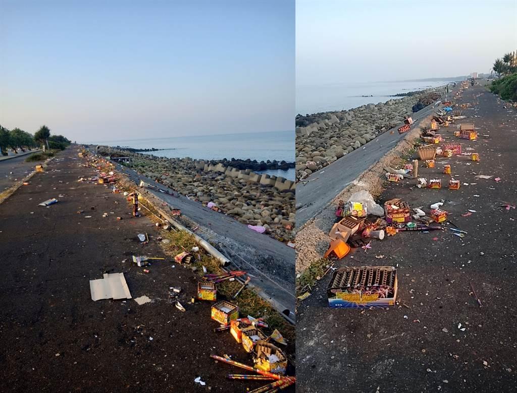 陳姓網友在網上PO出台南黃金海岸中秋後的慘況,調侃自己是眼睛業障重才看到滿地垃圾。(臉書社團《爆怨公社》陳網友/蘇育宣翻攝)