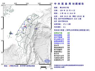 台中凌晨規模4.1地震 最大震度苗栗3級