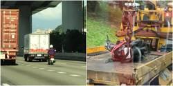 機車誤闖國道釀10車連環追撞 3駕駛、2警受傷