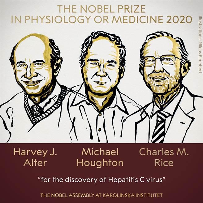 2020諾貝爾生醫獎由3位研究C型肝炎的英美病毒學家分享。(圖/擷取自諾貝爾獎官方臉書)
