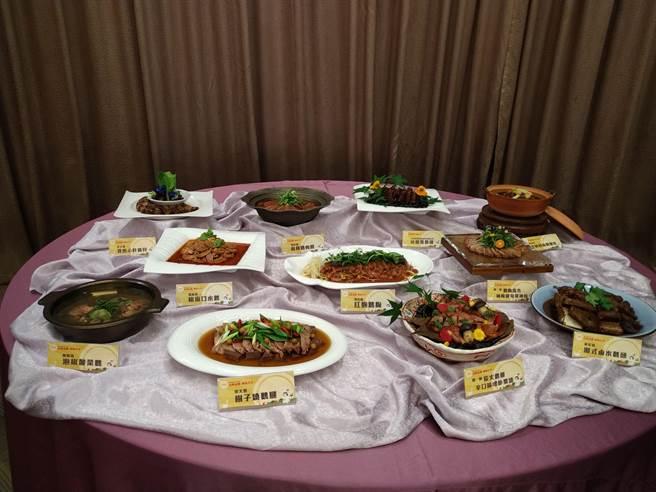 本次活動由5大名廚研發出鵝肉新品料理。(台南市政府農業局提供/李宜杰台南傳真)