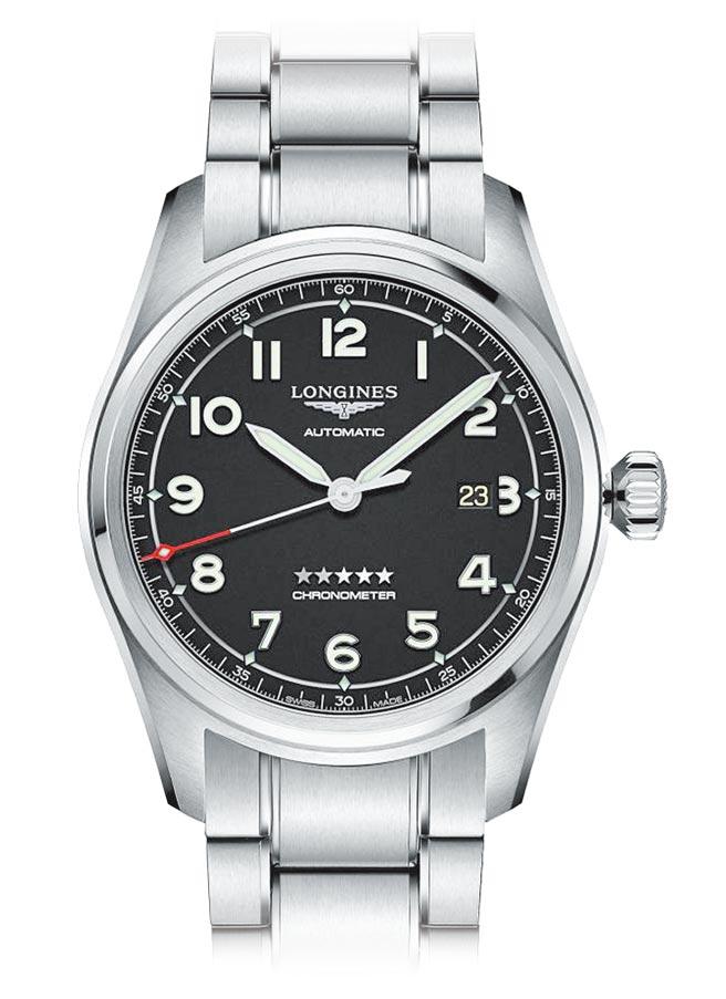 浪琴表Spirit先行者系列黑色面盘大三针腕表,7万2600元。(Longines提供)