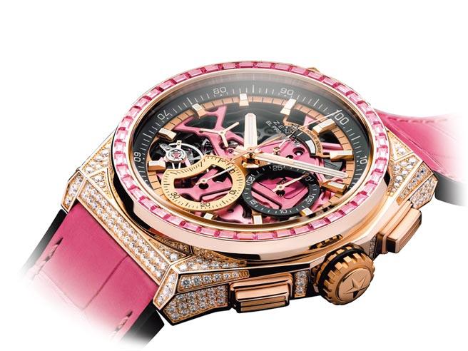 真力时Defy el Primero 21粉红奢华款钻表,支持红丝带(PINK RIBBON)乳癌防治慈善运动,208万5500元。(ZENITH提供)