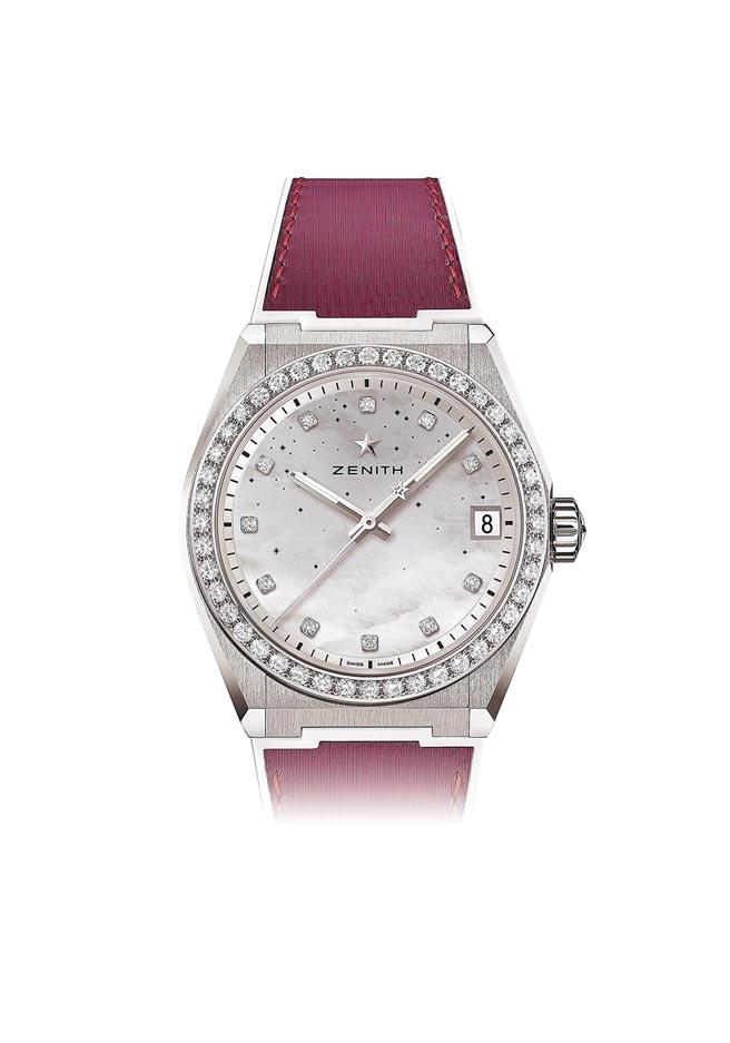 真力时Defy Midnight女用钻表,珍珠母贝表盘,35万300元。(ZENITH提供)