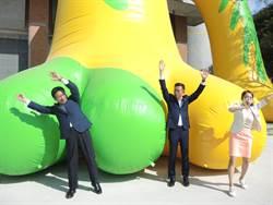 林佳龍逛台灣設計展 跟林智堅玩大風吹