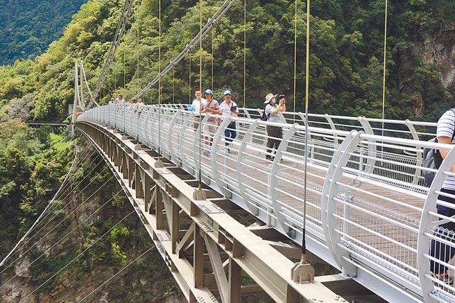 因太魯閣國家公園新景點山月吊橋啟用,入園旅遊人次因此較端午節4萬5000人次,增加到7萬6000人次。(王志偉攝)