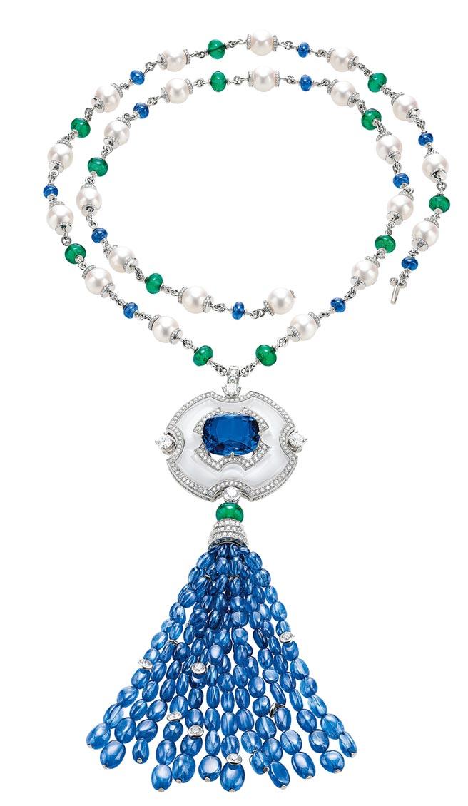 宝格丽顶级蓝宝石、祖母绿与钻石项炼,约8500万元。(BVLGARI提供)