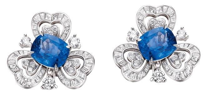 宝格丽顶级蓝宝石与钻石耳环,约1500万元。(BVLGARI提供)