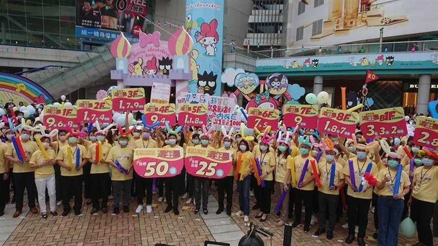漢神巨蛋動員近500名員工參加造勢大會。圖/林憲祥攝