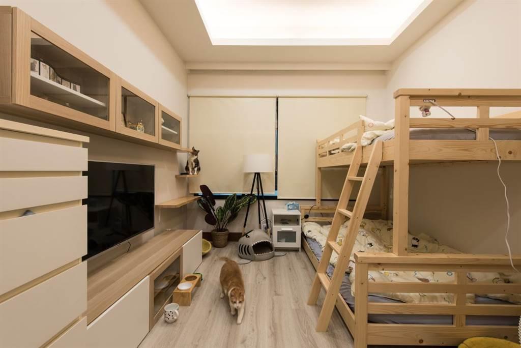 阿瑪、三腳、柚子喜歡待在志銘與狸貓過夜的房間,霸佔雙層床的上層及貓屋。