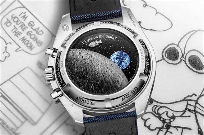 底蓋的史努比搭乘太空艙遨遊太空,當計時秒針運行時,史努比也會環繞月球,十分有趣。(OMEGA提供)