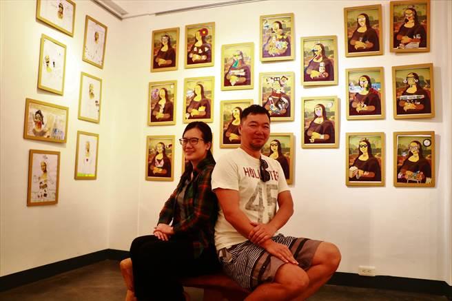 長年從事藝術教育的南飄夫妻李思華(右)、黃靜宜(左),近日在恆好畫廊策展《看見》,盼藉由天馬行空幫孩子留個紀錄,也替大人紀念那逝去的純真。(謝佳潾攝)