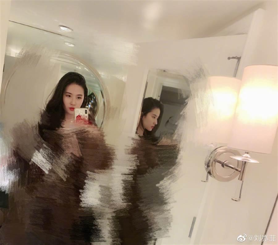 劉亦菲替新衣服打馬賽克,相當逗趣。(圖/翻攝自微博)