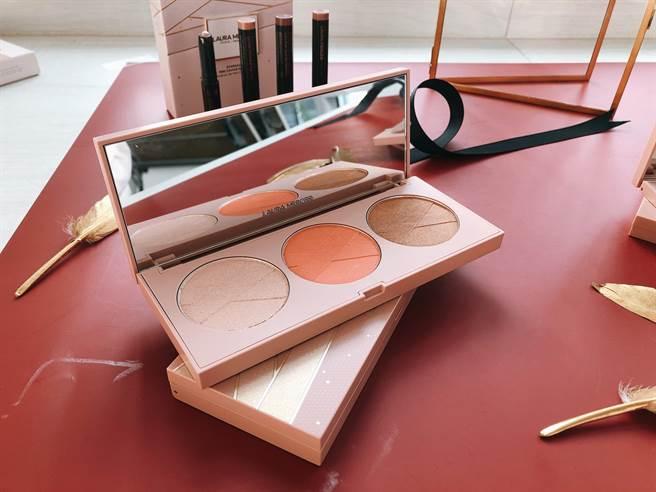 芭蕾三色立體修容盤集齊修容、打亮、腮紅。(圖/品牌提供)