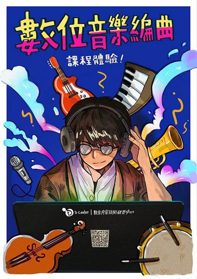 龍華科大數位內容中心開設數位音樂課程,引領學子用創意玩出專業。(龍華科大提供/李侑珊台北傳真)