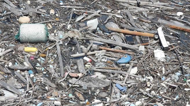 不同於過去直接請挖土機挖掘清理出海口海漂垃圾,彰化環盟盼以實驗性質試辦攔截點收集海洋垃圾後分類清理,保護潮間帶的濕地生態。(彰化縣環境保護聯盟提供/謝瓊雲彰化傳真)