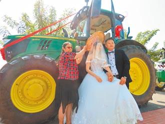 青農娶美嬌娘 曳引車隊迎親