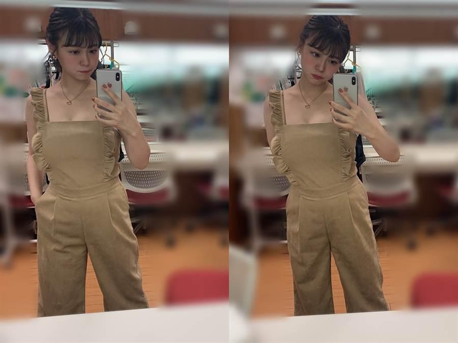 井口綾子曬出全身照,原來是一件膚色的連身褲。(圖/推特@ Business_Click_)