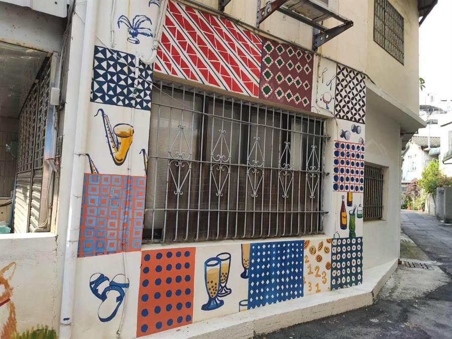 古色古香的社區,有懷舊矮房老屋,普普風格的3D彩繪牆。(張妍溱攝)