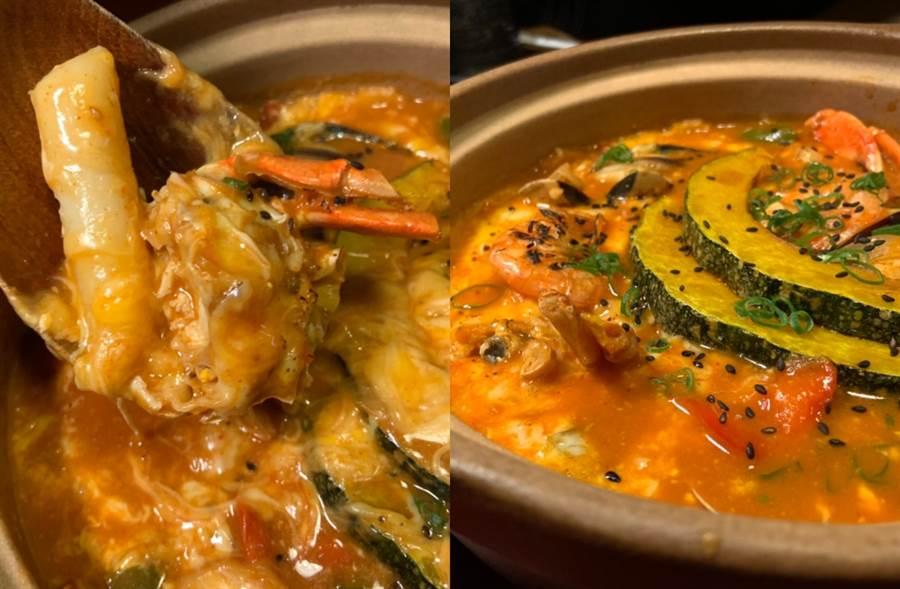 「海鮮起司炒年糕」以多樣化的綜合海鮮與Q彈年糕為主體。(圖/楊婕安攝)