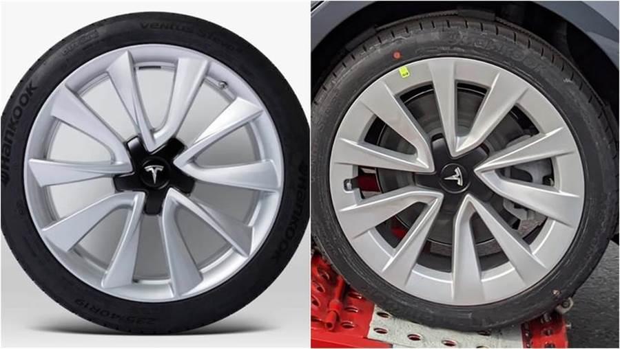 左:19 吋運動輪圈,右:新版 Model 3 標配輪圈。