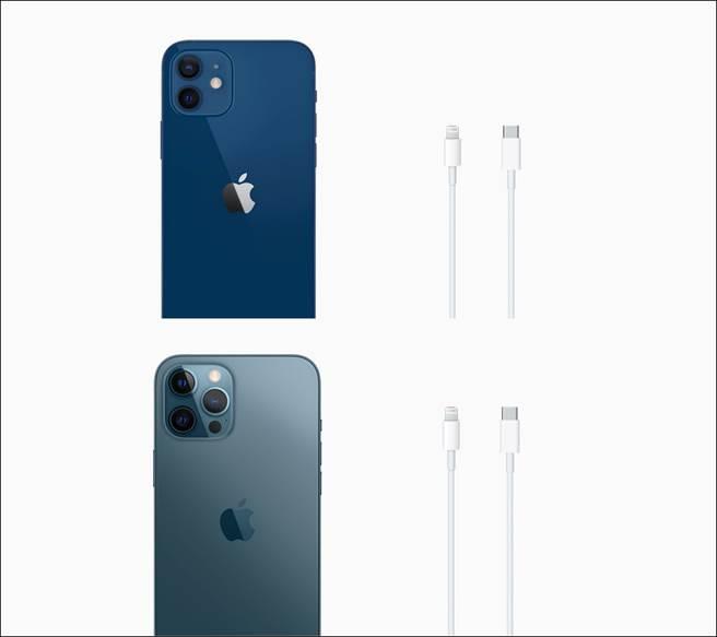 在官網iPhone 12全系列的訂購畫面,都顯示盒內只附上充電線一條,沒有EarPods有線耳機以及充電器。(摘自蘋果官網)